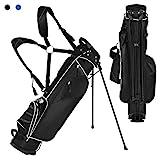 COSTWAY Golftasche 9 inch Golfbag Pencil Bag Profi-Reisebag Ständerbag mit Kopfteil und Tragegurt (schwarz)