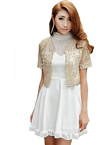 Women's Short Sleeved Hand Beaded Lace & Mesh Bolero Cropped Jacket - Available in Apricot with Gold Thread or Black with Silver Thread Sizes 6-14 (12-14 UK,