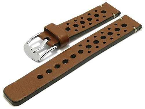 Meyhofer EASY-CLICK Uhrenarmband Drawa 24mm mittelbraun Leder Racing-Look helle Naht My2pasl0005