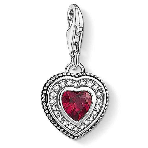 Thomas Sabo Mujer Colgante Charm Corazón con piedra roja Plata de ley 925 1478-640-10