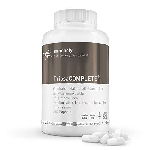 SANOPOLY PriosaCOMPLETE Premium und vegetarische Nahrungsergänzungsmittel I Für Sport, Freizeit & Gesundheit I Mit vielen wichtigen Aminosäuren, Mineralien, Vitaminen & Pflanzenextrakten I 250 Kapseln