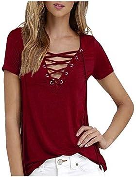 Zaywind Damen Sommer Kurzarm T-Shirt V-Ausschnitt mit Verband