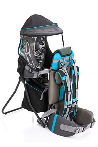 Fillikid Babytrage Rückentrage Exclusiv | Rücken Babytrage mit Sonnenschutz & großen Staufächern | Kraxe zum Wandern mit Baby und Kleinkind | Tragesitz bis 20 kg, Design:grau/blau