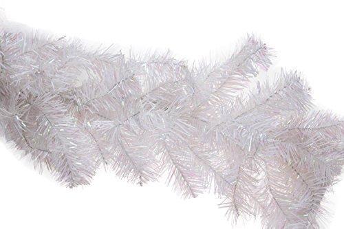 Weihnachtsgirlande in Tannenzweigoptik - realistische Weihnachtsdeko im Frost-Look - Weiß - 9' (2,74 m) lang