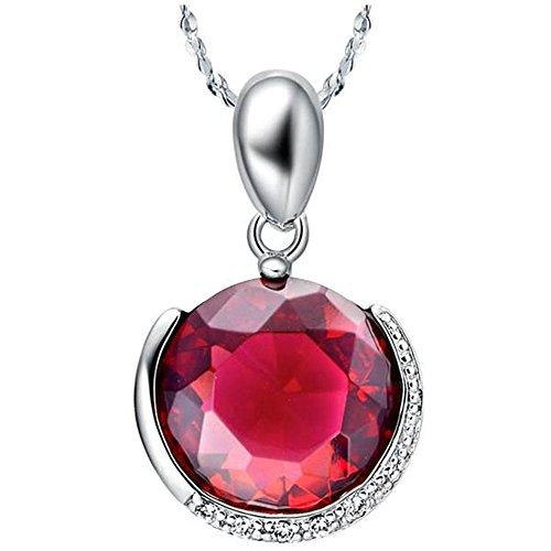 Onefeart Blanco Oro Plateado Colgante Collar Para Mujeres Chicas Rojo Cristal Sencillo Redondo 45CMx28X17MM