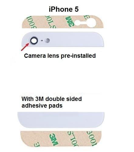 MMOBIEL Backcover Rückseite - Oben und Unten für Iphone 5 5G (Weiss) Glas mit Glaslinse vorinstaliert und inkl. Klebepads Iphone 5 Weiß Oben Und Unten