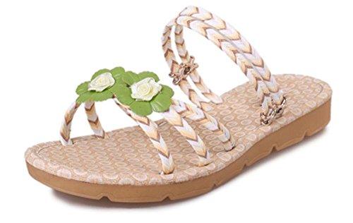 Para Transportar Duas Sandálias E Chinelos Planas Femininos Flores Cinto Aberto Amarelo