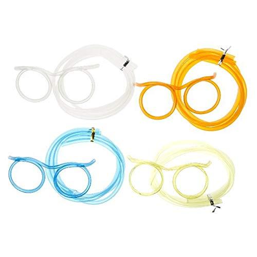 1a-becker Trinkbrille Strohalm Brille Trinkschlauch Mitgebsel JGA Party Scherzbrille Blau