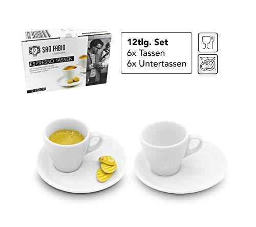 San Fabio 12tlg. Barista Bistro Espresso-Tassen Set hochwertiges Porzellan Büro Hotel Cafe Espressotassen Mokka-Tassen Kaffeetassen Set dickwandig Espresso Tasse Weiß, Spülmaschinengeeignet Espresso-tasse Set