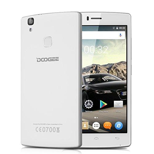 DOOGEE X5 MAX PRO 5.0 Zoll 4G-LTE Smartphone Android 6.0 IPS HD Screen Dual SIM Quad Core 1.3GHz 2GB RAM 16GB ROM Dual Kamera 5.0MP Handy ohne Vertrag Smart Wake Air Gestures Fingerprint Dual ID GPS Weiß
