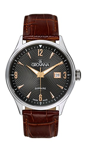 Grovana Men's Quartz Watch with Black Dial Analogue Display and Brown Leather Strap 1191.1527