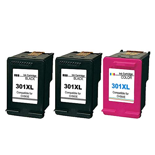Ksera Remanufacturado HP 301 XL HP 301 Ink Cartridges High Performance Package 3(2 negro, 1 tricolor) Compatible con HP Deskjet 1000 1010 1050 2000 2050 2540 HP Envy 4500 4502 4504 4505 4507