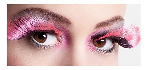 XL Wimpern Flamboyant - False Eyelashes Für Erwachsene zum Kostüm - Schwarz Pink ()