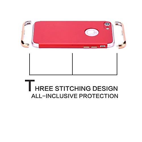Bepack Iphone 8 iPhone 7 H¨¹lle,Anti-Kratzer Shockproof Slim Fit mit Galvanik Rahmen Soft Touch Matte harte SchutzH¨¹lle f¨¹r Apple Iphone 8 iPhone 7 4,7 '' Red