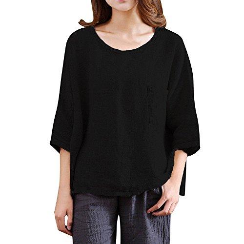 (TEBAISE Damen Baumwoll Leinen Tunika Freizeit T-Shirt Bluse Casual Langarm Lose Oberteil Oberseiten Leinen Kurzarm Blusen Tunika Sommer Freizeit Oversize T-Shirt Tops)