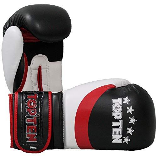 TOP Ten Boxhandschuhe, Stripe, schwarz-rot Größe 10 Oz