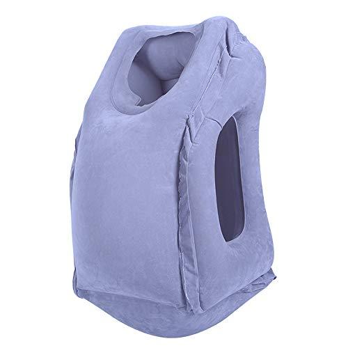 Schlag Hals (Modenny Aufblasbares Reisebüro-Kissen-Luft-weicher Kissen-Reise-tragbarer innovativer Körper-rückseitiger Support Faltbarer Schlag-Hals schützen Kissen (Color : Gray))