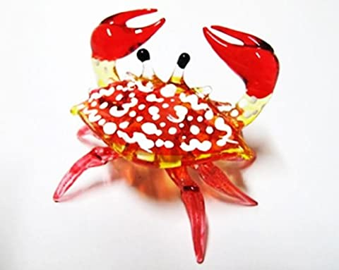 Handcrafted miniatures main soufflé verre petit crabe rouge FIGURINE Collection