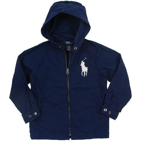Ralph Lauren Niños übergangs Chaqueta con capucha Big Pony Polo Jinete Marca Logo Color Azul Oscuro
