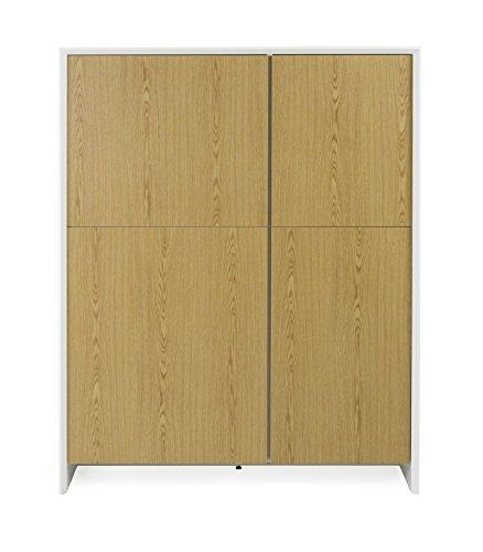 TENZO 5934-450 Profil Designer Rangement 4 Portes, Blanc, Structure MDF laqués. Façades en Panneaux de Particules mélaminé chêne, 150 x 120 x 47 cm (HxLxP)