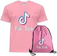 Giano Srl TIK Tok - Camiseta para adultos y niños con cordón y bolsa de gimnasio, con logotipo de TikTok Music