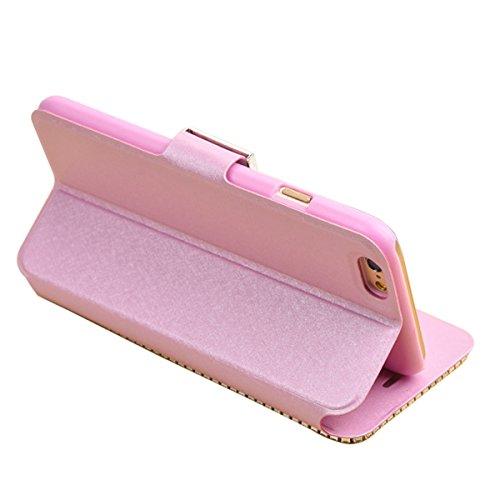 """iPhone 6sPlus Ledertasche, Kristall Sparkly Diamant CLTPY iPhone 6Plus Folio Book Stil Luxus Schlanke Hybrid-Kreditkartentasche Mappenbeutel Schale Case, 3 in 1 Ganzkörper-Fall für 5.5"""" Apple iPhone 6 Rosa A"""