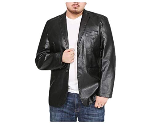 CuteRose Mens Plus-Size Button Down PU Pocketed Jacket Trench Coat Black 3XL Button-down Trench Coat