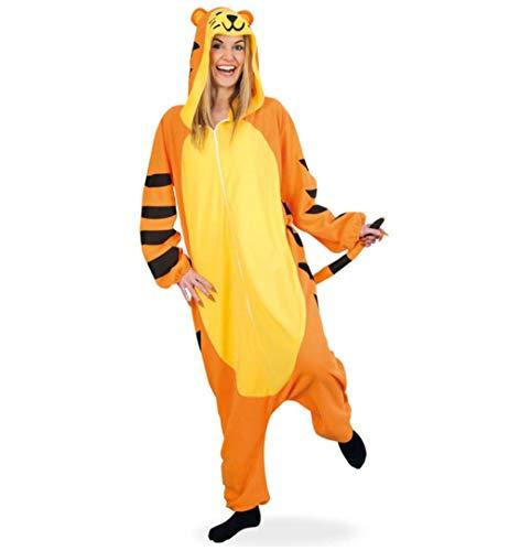 KarnevalsTeufel Ganzkörperkostüm Tiger, Overall mit Kapuze, Jumpsuit, Orange, Tierkostüm | Pyjamaparty