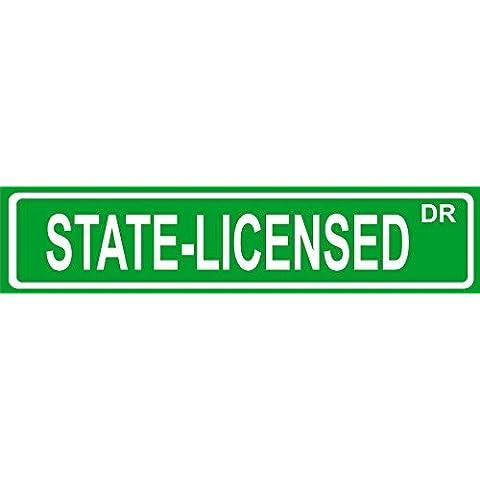 state-licensed 10,2x 45,7cm–in metallo e plastica targa