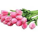 V-SOL Flor Artificial Tulipán para Boda Fiesta Cumpleaños Rosa Oscuro