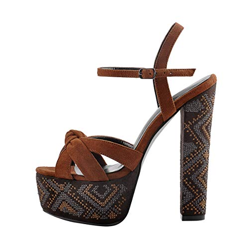 Onlymaker Frauen Sandaletten Peeptoe Plateau Blockabsatz Sandalen Pumps mit Stickerei Design Bronze 37 EU - Bronze Pumps Heels