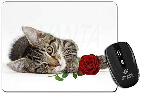 Tabby -Kätzchen-Katze mit roter Rose Computer-Maus -Matte / pad Weihnachtsgesche -