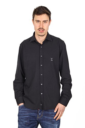 Versace 19.69 Abbigliamento Sportivo Srl mens long sleeve shirt Paris Piquet Nero Black