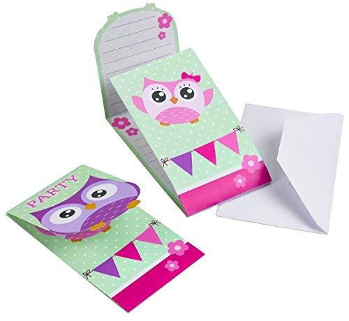 Preisvergleich Produktbild 16-teiliges Einladungs-Set * EULEN * für Party und Geburtstag // AMSCAN // Kinder Kindergeburtstag Mottoparty Fete Invites Einladungen Einladungskarten Eule Owl