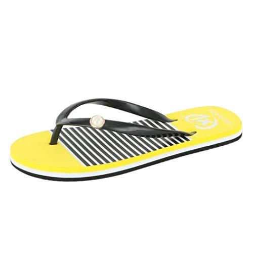 ZHRUI Flache Frauensandalen, Strand-Flip-Flops, Schuhe für Damen, Sandalen für Damen, Indoor-Outdoor-Soft-Flip-Flops, Riemen (Farbe : Gelb, Größe : 4.5 UK)