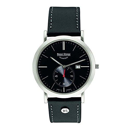 Bruno Söhnle Ares II - Reloj de cuarzo para hombre, correa de cuero color negro