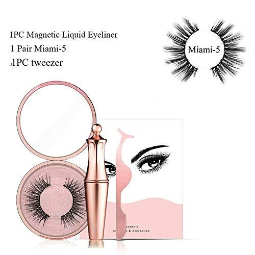 Tragen Sie Flüssiges Make-up (Dovlen Magnetisch Flüssiger Eyeliner mit Magnetischem Künstliche Wimpern Einfach zu Tragen Make-Up Set - Miami Set)