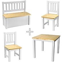 [rabando]–Lätt 1x mesa infantil con 2x kinders Sillas + 1x niños Banco Madera Blanco barniz transparente