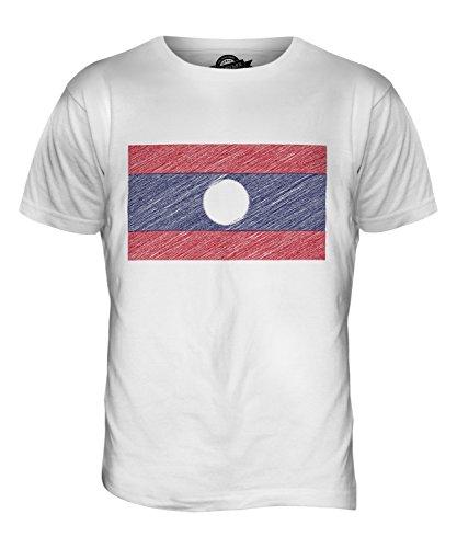 CandyMix Laos Kritzelte Flagge Herren T Shirt Weiß