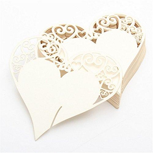 50Laser geschnitten Love Herz Hochzeit Tischkarten, champagner/Wein Glas ca... beige (Vintage Karte Tischset)