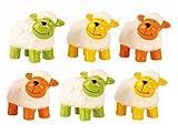 6 bunte Schafe je 11 cm x 9 cm Figur Schaf Grün Gelb Orange