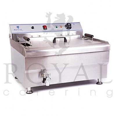 Royal Catering - RCBG-30-1-B-STH - Friteuse électrique - 30 litres - 380 Volt - 9 kW - robinet de vidange - Egouttoir de Royal Catering