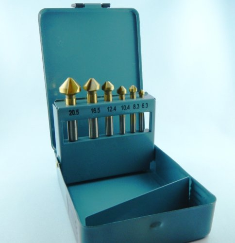 6 teiliger HSS Stahl-Kegelsenker-Satz Senkbohrer 90° NEU 6,3-20,5 mm in Metallbox