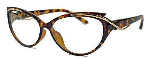 kleinere filigrane Damen Nerd Brille 50er 60er Jahre Cat Eye Brillengestell Klarglas CN81 (Braun)