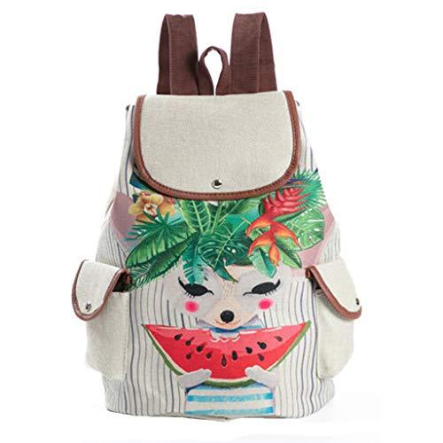 squarex ® New Cute Cartoon Print Tasche Schüler Schulrucksack Mädchen Reiserucksack Mädchen Casual Bag Damen Canvas Bag Handtasche - Print Große Shopper-handtasche