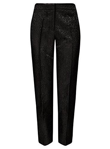 oodji Collection Damen Jacquard-Hose mit Bügelfalten Schwarz (2900J)
