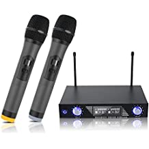 LESHP - Micrófonos Inalámbricos MV-878, Receptor de Micrófono Profesional Dual con Pantalla LCD y 2 Micrófonos Portátiles para Fiesta de Karaoke, KTV, Lugares de Entretenimiento, Boda y Reunión