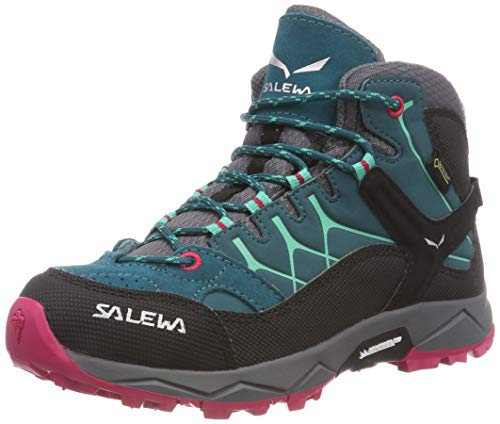 Salewa JR ALP TRAINER MID GTX, Jungen Trekking- & Wanderstiefel, Türkis (Shaded Spruce/rose Red 8632), 35 EU (3 UK)