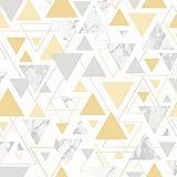 Papier peint Chantilly Triangle Marbre Géométrique Jaune/Gris Debona 5014