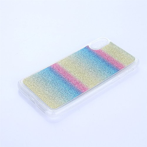 CaseforYou Hülle iphone X Schutz Gehäuse Hülse Ultra Slim Fit Gradient Soft TPU Phone Back Case Cover Protective Shell Schutzhülle für iphone X Handy (Silver) Stripe Rainbow